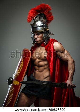 Warrior of Rome with sword and shield. - stock photo