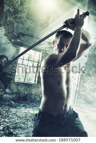 Warrior with his Katana sword