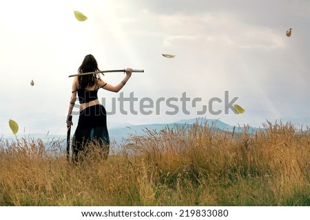 Warrior woman - stock photo