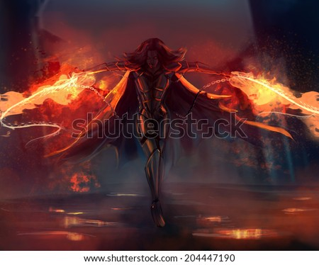 Warrior woman. Fantasy warrior armored woman attack with fire chains action illustration.  - stock photo