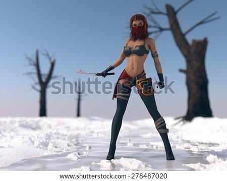 warrior woman in snow scene  - stock photo