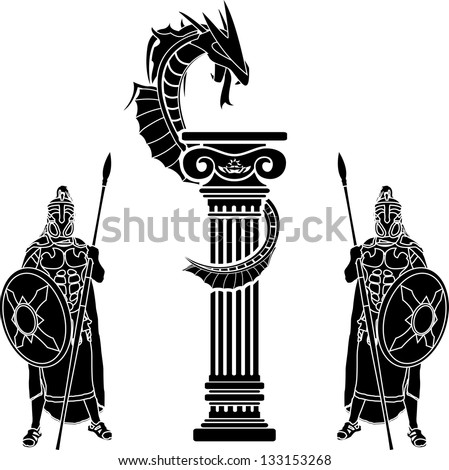 warriors and dragon. raster variant - stock photo