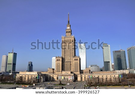 WARSAW - APR 03: The main view of the modern part of city centre in Warsaw on March 03. 2016 in Poland