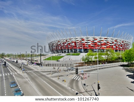 WARSAW - APRIL 29: Construction site of Poland's National Stadium one year before the Euro 2012 on April 29, 2012. Poland and Ukraine will co-host the 2012 European Football Championship - stock photo