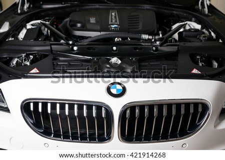 WARSAW - APRIL 22: New BMW Gran Coupe TwinPower Turbo Motor on April 22, 2016 in Warsaw, Poland