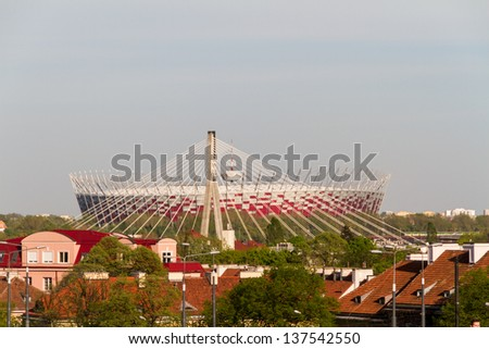 WARSAW - APRIL 25 : New open National Stadium in Warsaw APRIL 25 2012 in Warsaw, Poland. The National Stadium is due to host the opening match of the UEFA Euro 2012.