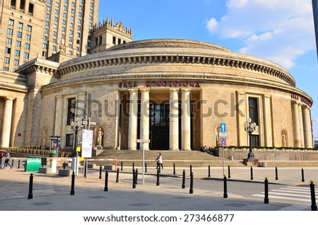 WARSAW - APRIL 11, 2015:  the Palace of Culture and Science April 11, 2015 in Warsaw, Poland.  The Palace of Culture and Science with 231 meters is the tallest building in Poland.