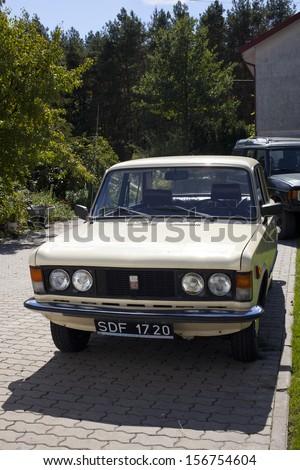 "WARSAW - August 25: Old polish car ""Fiat 125p"" on motobazaar. August 25, 2013 in Warsaw, Poland. - stock photo"