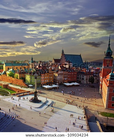 Warsaw castle square and sunset - stock photo