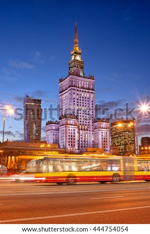 WARSAW - CIRCA OCTOBER 2013 - Palace of Culture and Science at dusk, city landmark in Warsaw, Poland, view from Marszalkowska street