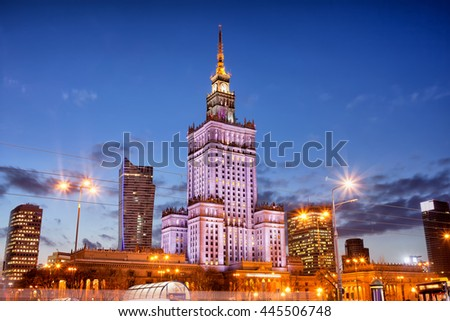 WARSAW - CIRCA OCTOBER 2013 - Palace of Culture and Science at night, city landmark in Warsaw, Poland