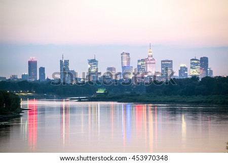 Warsaw city center and Wisla river at dusk, Poland