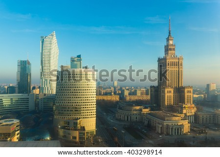 Warsaw city center skyline with skyscrapers, Warsaw, Poland