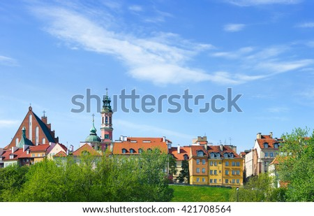 Warsaw city, Poland - view at old town - stock photo