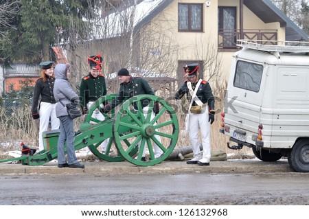 WARSAW - FEBRUARY 26: Reenactors of Polish artillery after the historical reenactment of the Battle of Olszynka Grochowska 1831 - between armies of Poland and Russia on February 26, 2011 in Poland.