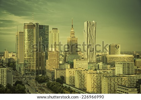 Warsaw financial center in late  afternoon, Poland - stock photo