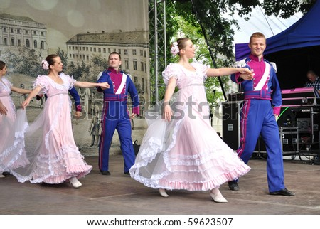 "WARSAW - MAY 30: Dance adaptation of Cinderella by Folk Song and Dance Ensemble ""Warszawianka"" - on the occasion of the 200th anniversary of the birth of F. Chopin. MAY 30, 2010 in Warsaw, Poland. - stock photo"