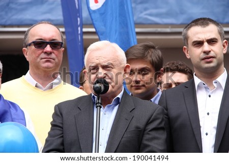 WARSAW - MAY 1: Leszek Miller (leader of the Democratic Left Alliance and Polish Prime Minister in 2001-2004) during the International Workers Day (Labor Day), on May 1, 2013 in Warsaw, Poland.