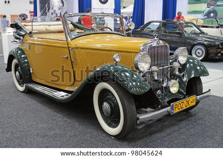 WARSAW - MAY 29: Mercedes Benz 200 C/W21 Cabrio (1934) on display at the classic car exhibition MOTO NOSTALGIA on May 29, 2011 in Warsaw, Poland. - stock photo