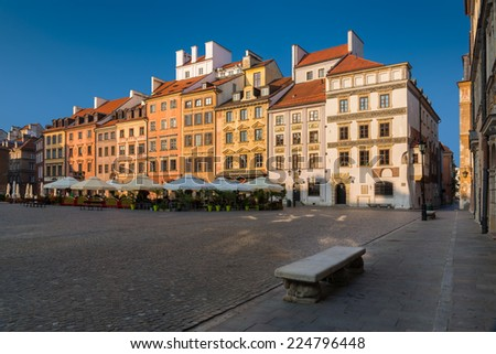Warsaw Old Town Market Place on a sunny morning. - stock photo