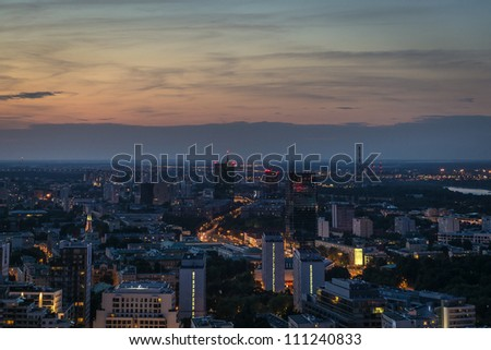 Warsaw panorama at night time. Warsaw is a capital of Poland, Europe