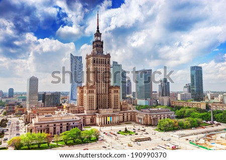 Warsaw, Poland. Aerial view Palace of Culture and Science and downtown business skyscrapers, city center. - stock photo