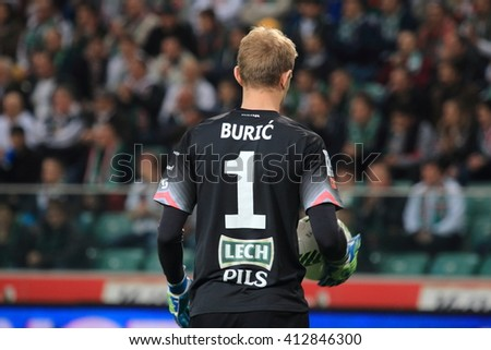 WARSAW, POLAND - APRIL 15, 2016: Jasmin Buric (Lech Poznan) in action during polish league football match between Legia Warszawa and Lech Poznan in Warsaw.  - stock photo