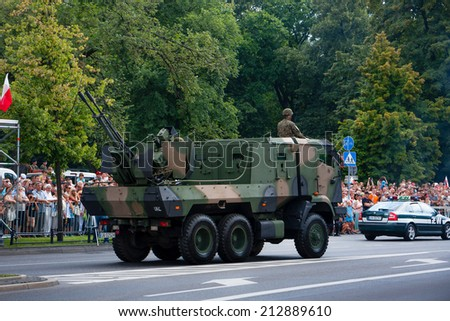 WARSAW, POLAND - AUGUST 15, 2014: Anti Aircraft Gun Hibneryt 3. Polish Armed Forces Day. 1200 Polish and over 90 foreign soldiers, over 120 military vehicles, more than 50 air crafts