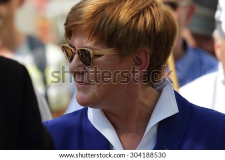 WARSAW, POLAND - AUGUST 06, 2015: Beata Szydlo (Law and Justice party) - candidate for Prime Minister at the general election due in the autumn of 2015 during a meeting with voters. - stock photo