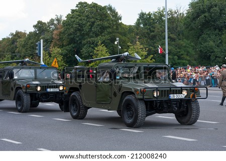 WARSAW, POLAND - AUGUST 15, 2014: Drones on Humvee HMMWV, M1097A2. Polish Armed Forces Day. Over 1200 Polish and over 90 foreign soldiers, over 120 military vehicles, more than 50 in aircraft