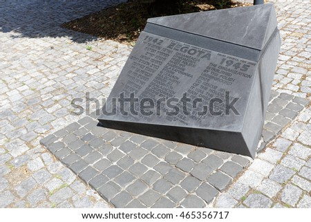 WARSAW, POLAND - AUGUST 05, 2016: Monument commemorates the activity and struggle of the Council for Aid to Jews during the Second World War is located next to Museum of the History of Polish Jews
