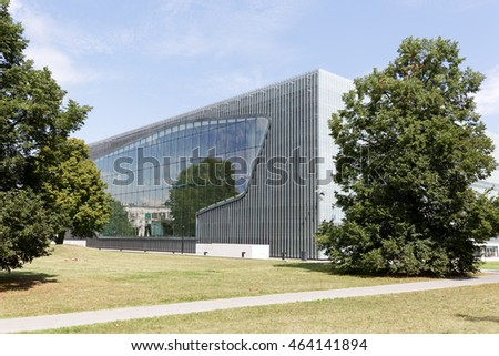WARSAW, POLAND - AUGUST 05, 2016: Museum of the History of Polish Jews that documents the millennial tradition of Jews in Poland and was built in years 2009-2013