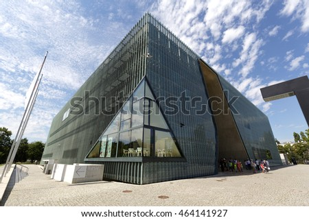 WARSAW, POLAND - AUGUST 05, 2016: Museum of the History of Polish Jews which is often called The Polin was designed by Finnish architect Rainer Mahlamaki and was built in years 2009-2013