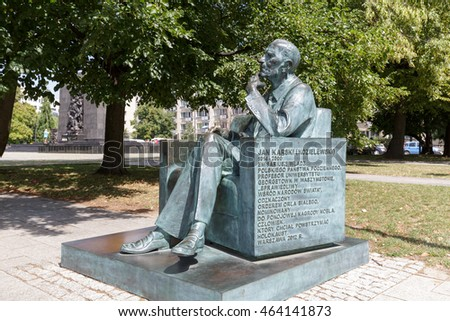 WARSAW, POLAND - AUGUST 05, 2016: Statue located in a park in front of the Museum of the History of Polish Jews, commemorates Jan Karski. The monument was unveiled on June 11, 2013