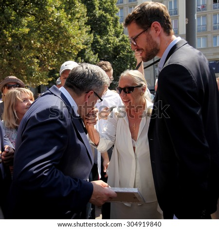 Warsaw, POLAND - AUGUST 5, 2015: The farewell meeting residents Warsaw with President Bronislaw Komorowski in Warsaw