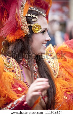 WARSAW, POLAND, AUGUST 26: Unidentified Carnival dancer on the parade on Warsaw Multicultural Street Parade on August 26, 2012 in Warsaw, Poland.
