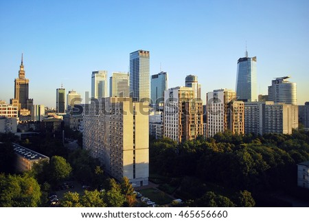 Warsaw,Poland. 8 August 2016. View of the modern skyscrapers in the city center.Warsaw skyline.