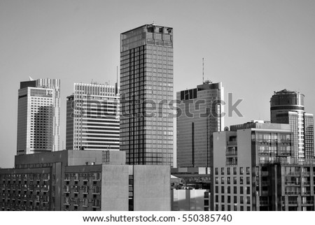 Warsaw,Poland. 8 August 2016. View of the modern skyscrapers in the city center.Warsaw skyline. Black and white