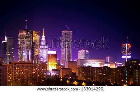 Warsaw Poland city at night.