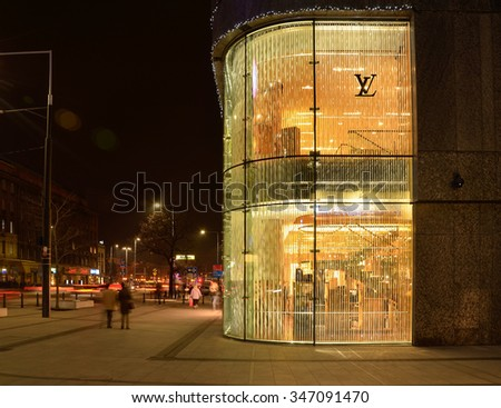 WARSAW-POLAND-DEC. 3. Louis Vuitton routinely ranks among the most admired brands in surveys of Polands consumers. But some top-tier consumers now look down as too common. Warsaw, Dec. 3, 2015. - stock photo