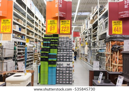 WARSAW, POLAND -DECEMBER 10, 2016: Aisle with goods in the castorama hardware store in the center of the city.