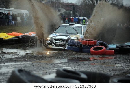 WARSAW, POLAND - DECEMBER 12, 2015: 53-th Barborka Rally Polish legendary rally cross rally