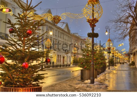 Warsaw, Poland.  Downtown at Christmas time