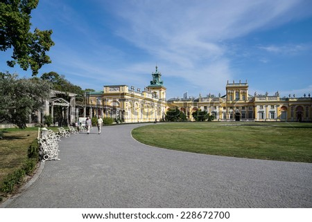 WARSAW, POLAND/EUROPE - SEPTEMBER 17 : Approach to Wilanow Palace in Warsaw Poland on September 17, 2014. Unidentified people.
