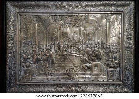 WARSAW, POLAND/EUROPE - SEPTEMBER 17 : Metal print showing the court of the King of Poland at Wilanow Palace in Warsaw Poland on September 17, 2014