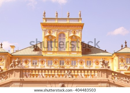 Warsaw, Poland. Famous Wilanow palace exterior. Old landmark. Filtered retro color style.