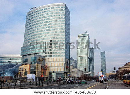 Warsaw, Poland - February 14, 2016: City life in Warsaw. There is development of civil engineering, city infrastructure and the modern architectural view of Polish capital.   - stock photo