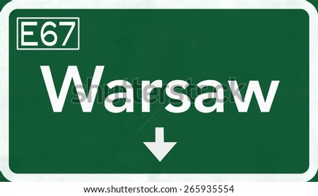 Warsaw Poland Highway Road Sign - stock photo
