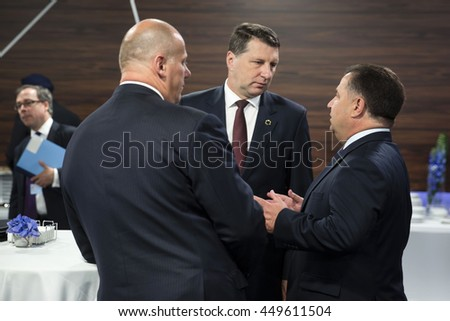 WARSAW, POLAND - Jul 9, 2016: NATO summit. Defense Minister of Ukraine Stepan Poltorak and President of Republic of Latvia Raimonds Vejonis before a meeting 