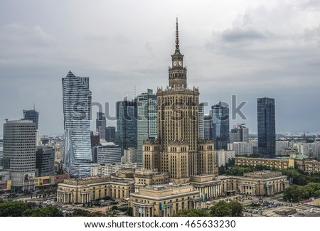 Warsaw, Poland - 31 July 2016: Aerial view Palace of Culture and Science and downtown business skyscrapers, city center.